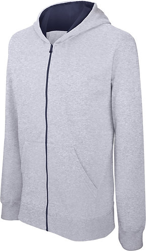 Kids Full Zip Hooded Sweatshirt Oxford Grey/Navy