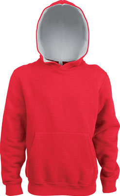 Kids Contrast Hooded Sweatshirt Red/White