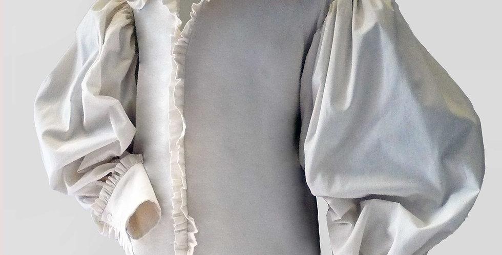 Chemise MOUQUET, manches très larges (plus de 1 mètre), col richelieu
