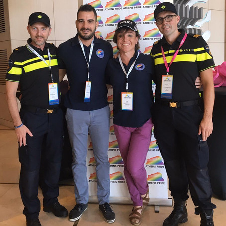 EGPA discuss police involvement in Pride at InterPride AGM and World Conference, Athens.