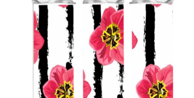 Floral striped tumbler | Pumpkins Kreations