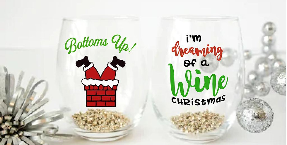 Bottoms Up Wine glass
