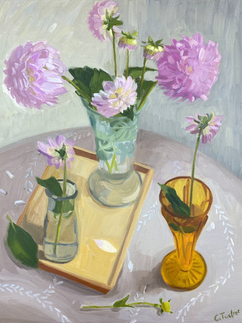 Dahlias in Three Vases (SOLD)