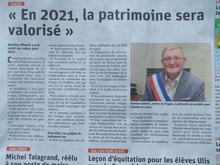 Voeux 2021 - Le Dauphiné Libéré du 31/01/2021