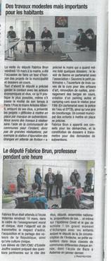 Visite du Député Fabrice Brun le 19/03 - La Tribune du 25/03/2021