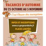Inscriptions accueil de loisirs vacances d'automne