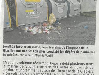 Incivilités - Le Dauphiné Libéré du 22/01/2021