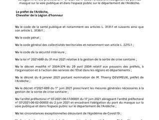 20/08/2021 : Arrêté Préfectoral relatif au port du masque en Ardèche