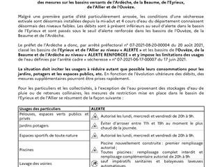 Sécheresse estivale: communiqué de presse de la Préfecture de l'Ardèche