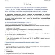 Consignes de l'Agence Régionale de la Santé (27.10.2020)