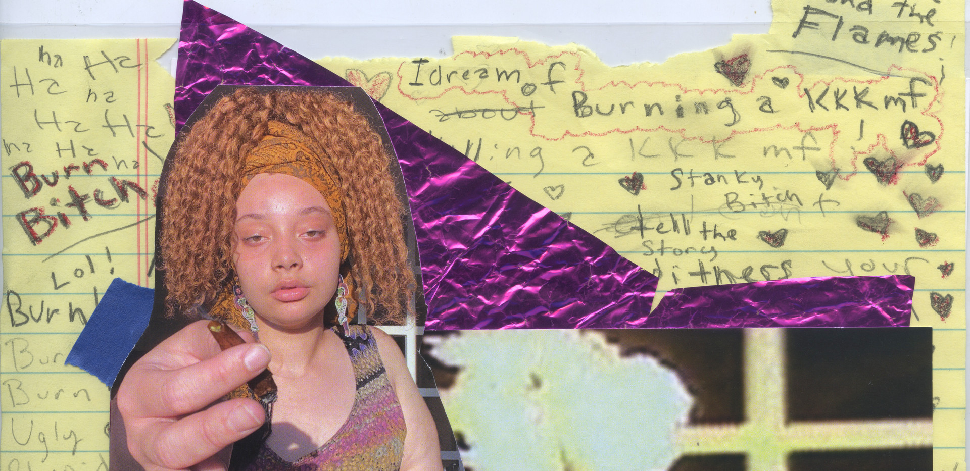 """Izsys Archer Major: Photography  Title: burn one wit me, sis!  Medium: Mixed Media Collage  Year: 2021 Dimensions: 40"""" x 55"""" Price: $2050"""