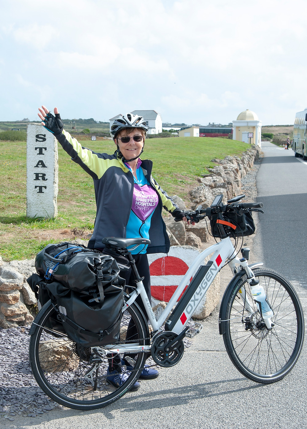 Annette at the start of Lejog