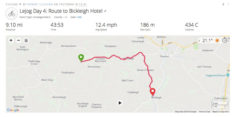 The route to Bickleigh