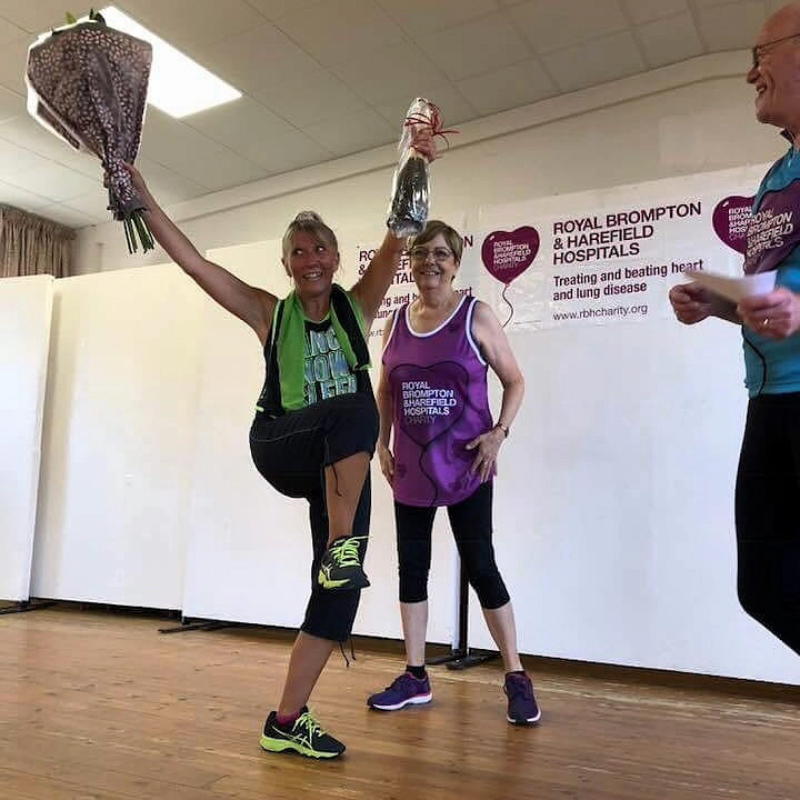Lisa celebrating at the end of the charity zumba session
