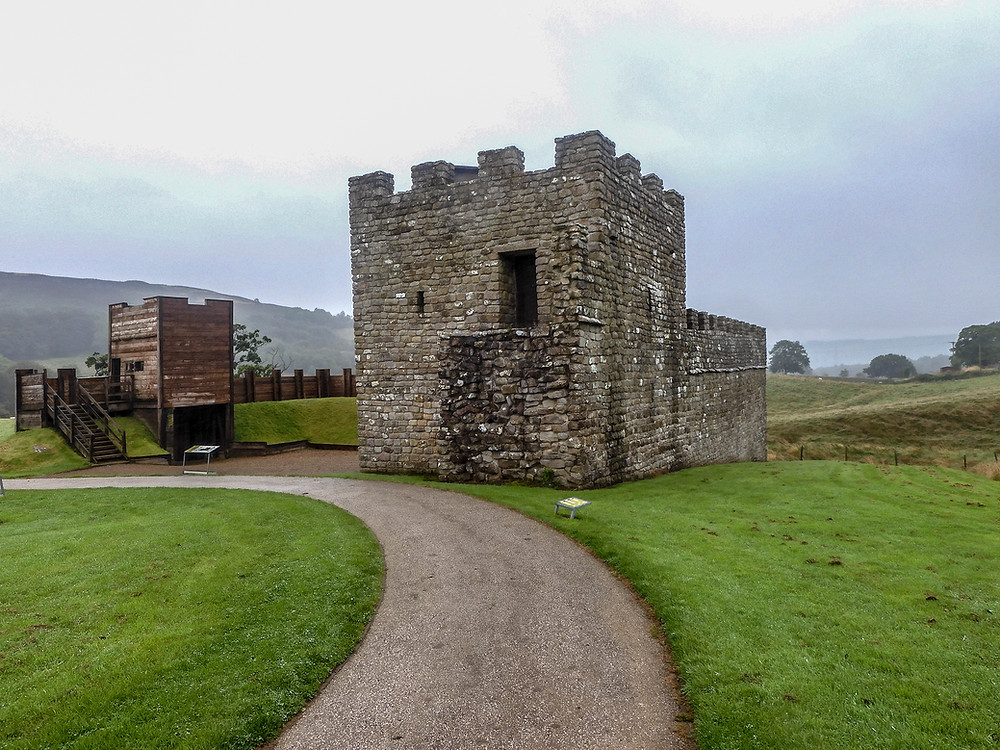 A recreation of a section of the fort defenses on Hadrians Wall