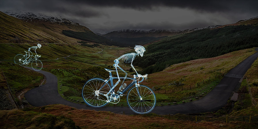 Pedal Power courtesy of Nick Veasey. with the skelletons photoshopped into the Scottish Highlands