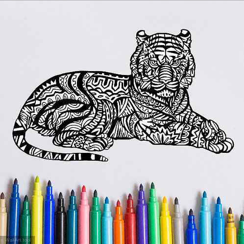 tiger coloring page for kids on vinyl