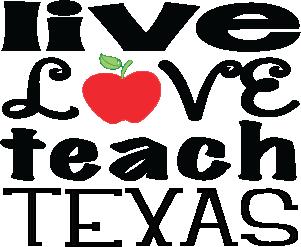 """Live Love Teach"" Texas Decals 4x3.5"" Set of @"