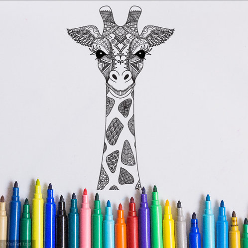 giraffe coloring page for kids on vinyl