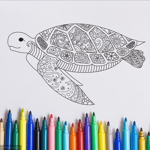 turtle coloring page for kids on vinyl