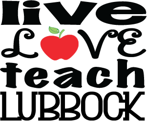"""Live Love Teach"" Lubbock Decals 4x3.5"" Set of 2"