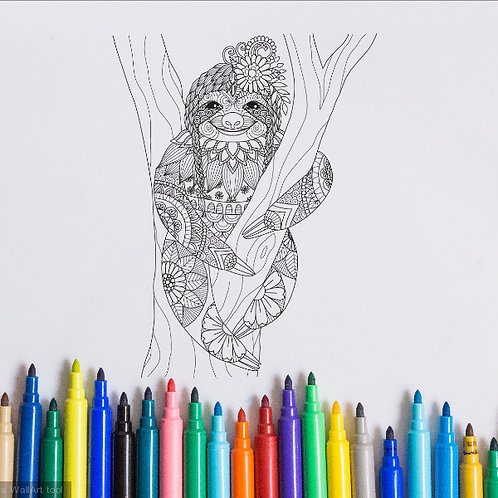 sloth coloring page for kids on vinyl