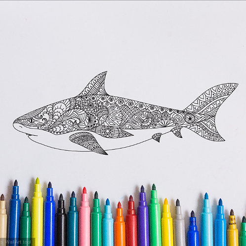 shark coloring page for kids on vinyl