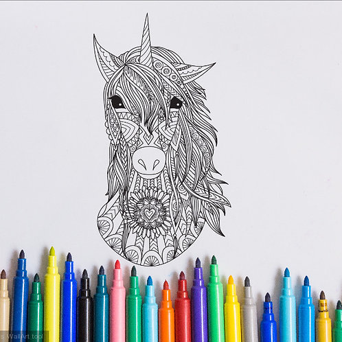 unicorn coloring page for kids on vinyl