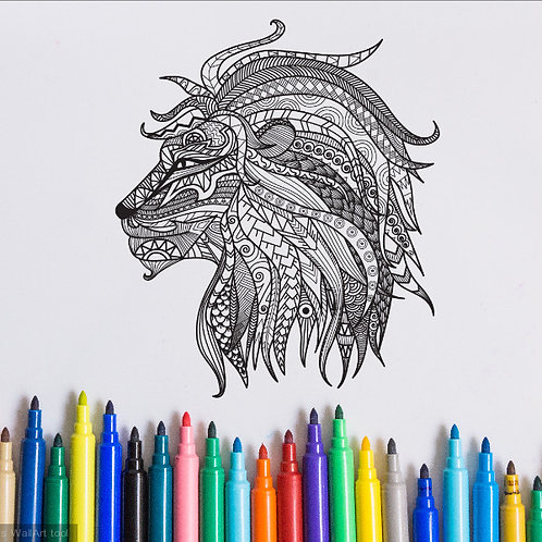 lion coloring page for kids on vinyl