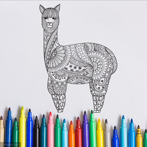 llama coloring page for kids on vinyl