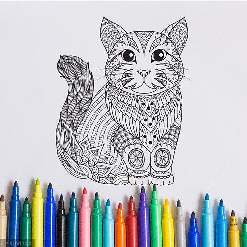 cat coloring page for kids on vinyl