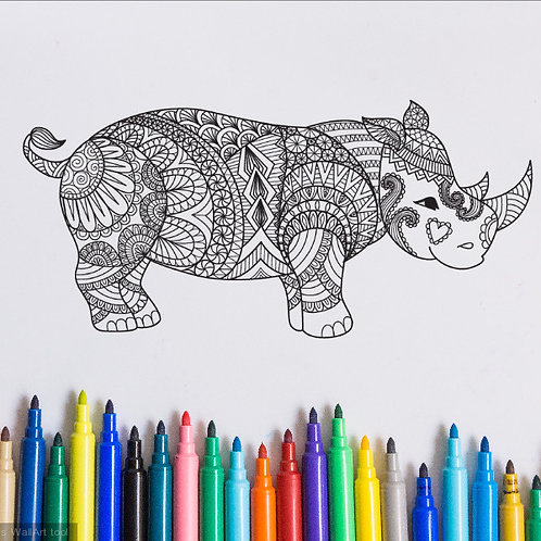 rhinoceros coloring page for kids on vinyl
