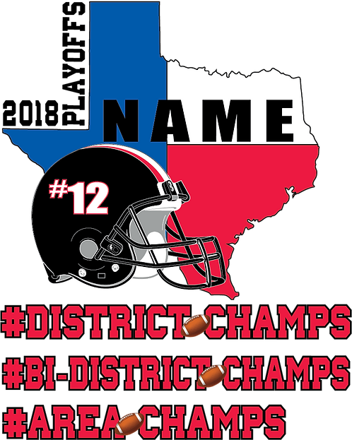 Football Playoff Decal with Name in Texas