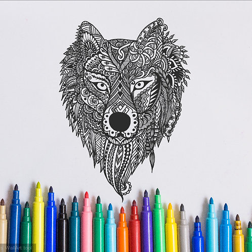 wolf coloring page for kids on vinyl