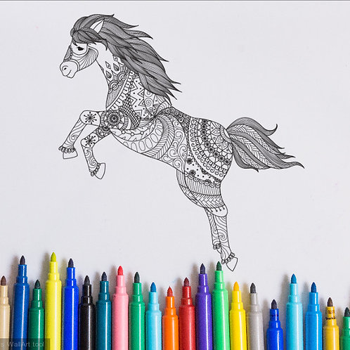 pony coloring page for kids on vinyl