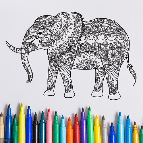 elephant coloring page for kids on vinyl