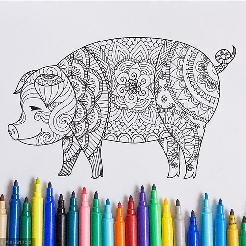 pig coloring page for kids on vinyl