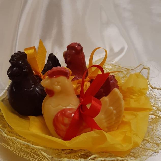 mini poule en lait, noir, fraise, framboise ou passion