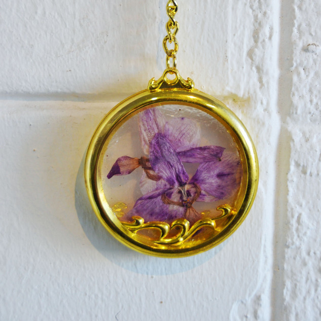Double Orchid Key Ring