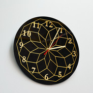 Gold and Black Geometric Clock