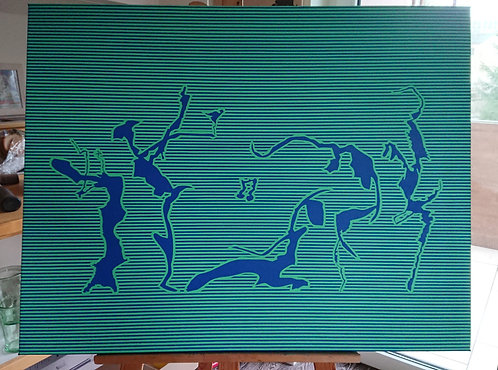 Der 3mm-Tanz in grünblau