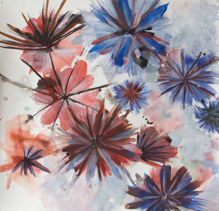 Pissenlits, acrylique sur papier, 71x71cm, 2017