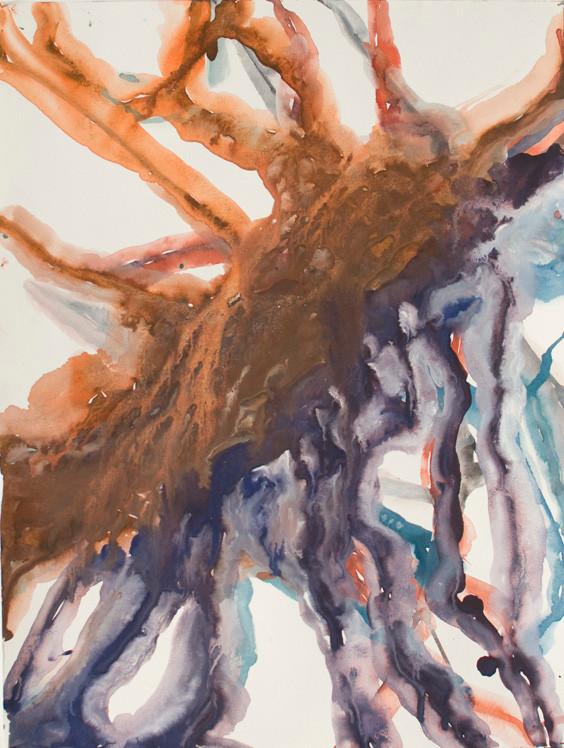 Arborescence 3, gouache sur papier, 30x40cm, 2016.