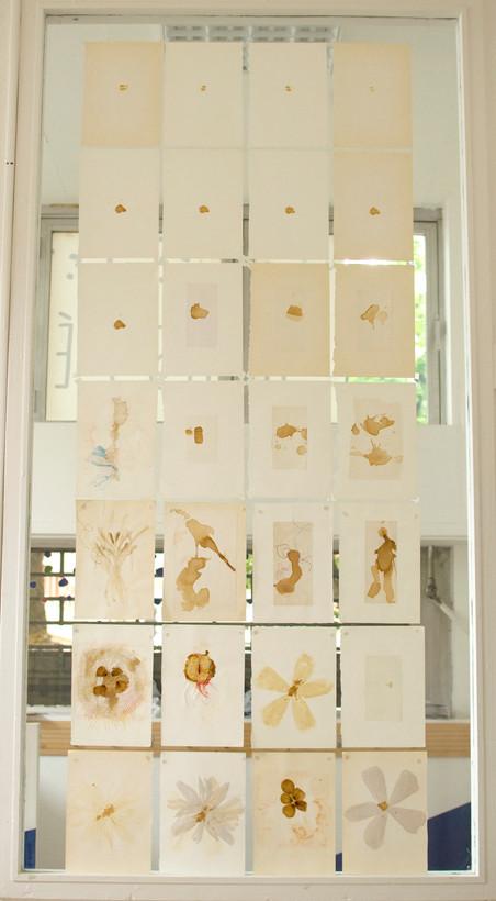28 pages du Journal de Traces réalisé entre 2001 et 2003, collées sur une vitre, environ 1,5x2,10m. Installation conçue à l'espace Môm'Tolbiac lors de l'exposition  personnelle Pulse Taches Réseaux en avril 2017.