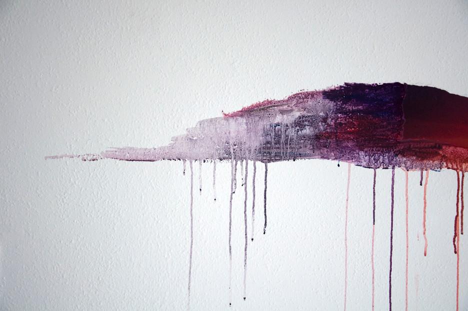 détail de Nuée, travail in situ, collage de fragments d'une image et prolongements à la peinture (gouache et acrylique) sur un mur de 4,8m de long et de 2,5m de hauteur. Festival « Les Imaginaires », Créteil 2012.