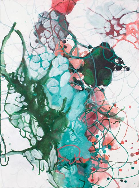Entrelacs, acrylique sur papier, 56x76cm, 2017.