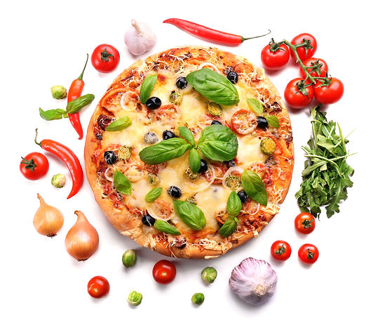 Delicious fresh pizza isolated on white.