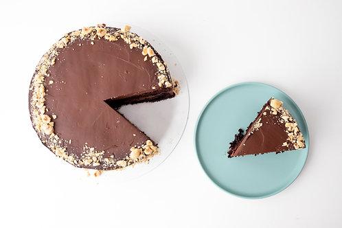 Tarta vegana de doble chocolate con ganache de crema de coco