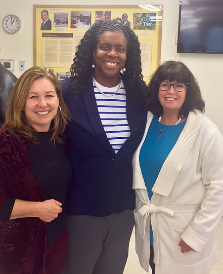 Melanie with Superintendent Marice Edouard Vincente and School Committee member Erin Dibenedetto