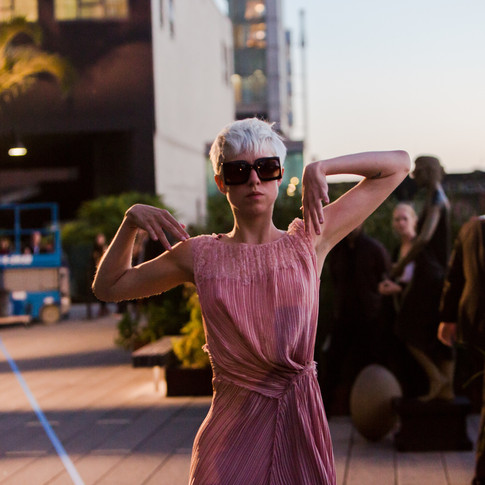 Image: Rosalie Wahlfrid and in Pablo Bronstein's 'Intermezzo' Two girls wear fashion garments'. The Highline, NYC 2013. Curtesy of; Friends of The Highline.